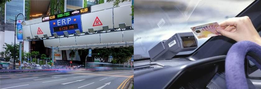 Obr. 3 Riešenie cestného zariadenia (tzv. brány) vozidlovej jednotky v Singapure, Zdroj: http://www.lta.gov.sg/content/ltaweb/en/roads-and-motoring.html
