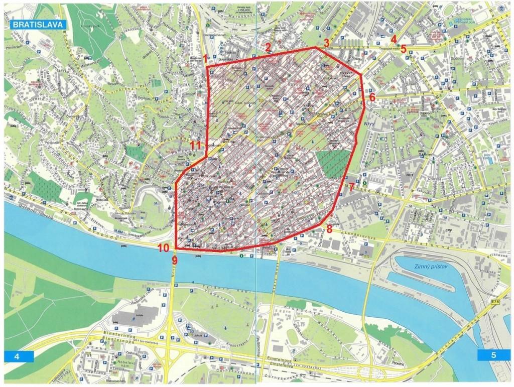 Obr. 1 Príklad zvažovanej oblasti mestského mýtneho systému [2]