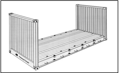 Obr. 4 Flatracks, zdroj: http://www.tis-gdv.de/tis_e/containe/arten/flat/abb1.htm