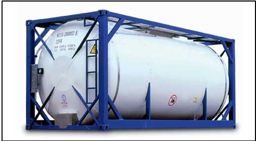 Obr. 9 Cisternový kontajner, zdroj: http://www.containerstrade.com/en/containers/specialie--konteineri/tank-konteineri