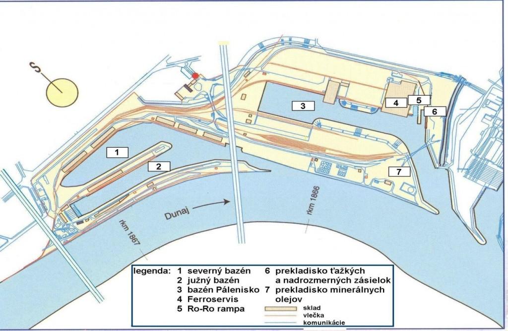 Obr. 2 Schéma usporiadania prístavu Bratislava [www.spap.sk, úprava autor]