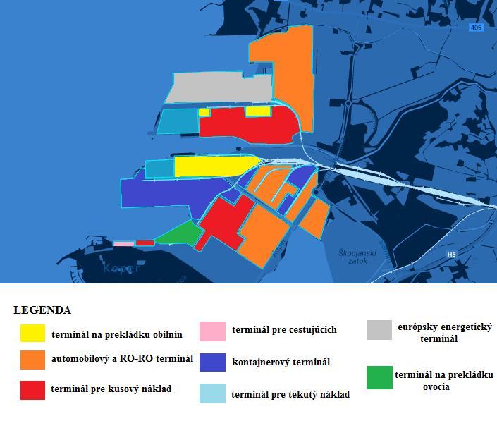 Obr. 2 Usporiadanie terminálov v prístave Koper Zdroj: http://www.luka-kp.si/, úprava: autori