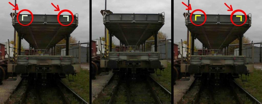Obr. č. 6 Komparácia snímok s použitím bielych reflexných pások (vľavo), žltých (vpravo) a bez použitia (v strede) na obryse dráhového vozidla v dennej smene vo vzdialenosti 10 metrov za mierne zníženej viditeľnosti. Zdroj: archív autorov.