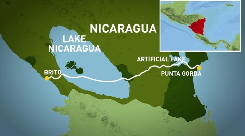 Obr. 3 Trasa prieplavu Nikaragua - zdroj: [8]