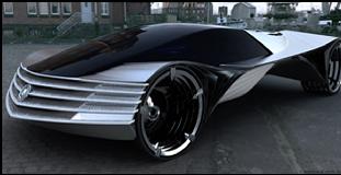 obr. 5. Cadillac WTF, na pohon automobilu je použitý jadrový reaktor a ako palivo Tórium. Dizajn: Lawrence Kulesus
