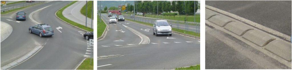 Obr. 4 Fyzické oddelenie jazdných pruhov na TOK (príklad zo Slovinska). Zdroj: autor