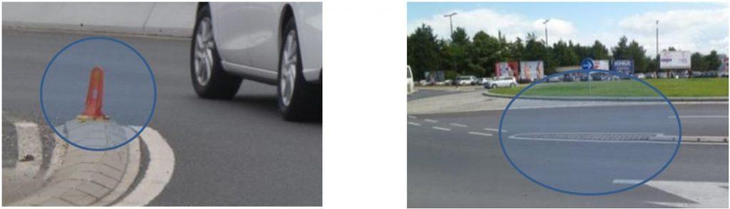 Obr. 5 Zvýraznenie líniového oddeľovača počas zimného obdobia (vľavo) a rozšírenie fyzického oddelenia jazdných pruhov na okruhu (vpravo) – príklad zo Slovinska. Zdroj: autor