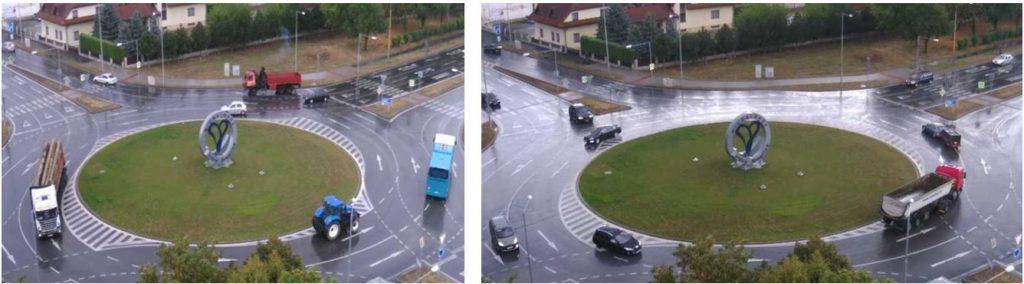 Obr. 6 Príklad nerešpektovania vodorovného dopravného značenia na TOK Michalovce. Zdroj: foto z webkamery [12]