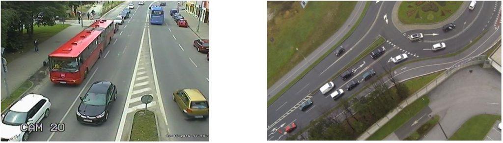 Obr. 7 Využívanie ľavého (vnútorného) pruhu na dvojpruhových vjazdoch do a) dvojpruhovej OK (Považská Bystrica, SR) a b) TOK (Maribor, Slovinsko). Zdroj: foto z videozáznamu (T.Tollazzi)