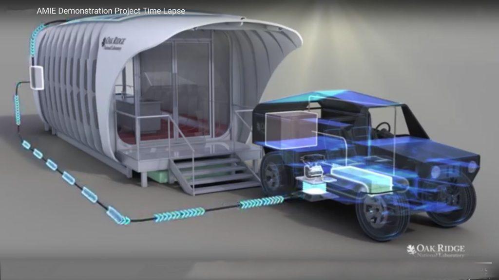 obr. 6 Dom dobíja elektrickou energiou auto