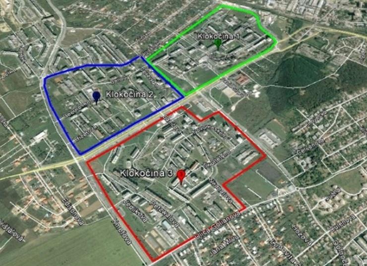 Čulík - Obr. 1. Rozdelenie sídliska Klokočina na satelitnej snímke