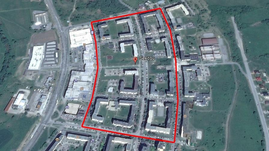 Čulík - Obr. 2. Sídlisko Sekčov v Prešove s vyznačením oblasti dopravného prieskumu
