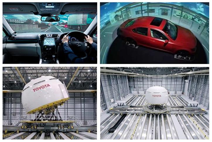 Čulík - Obr. 2. Toyota driving simulator - pohľad z kabíny vozidla, pohľad do kupoly, kupol a hala, v ktorej sa kupola pohybuje