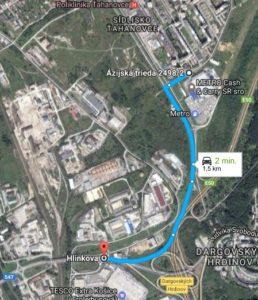 Medvid - Obr. 1. Pôvodná trasa medzi zastávkami Sofijská a Tesco, Džungľa (1,5 km)