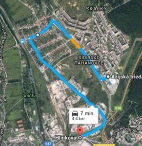 Medvid - Obr. 2. Dlhšia obchádzková trasa na rovnakom úseku (4,4 km)