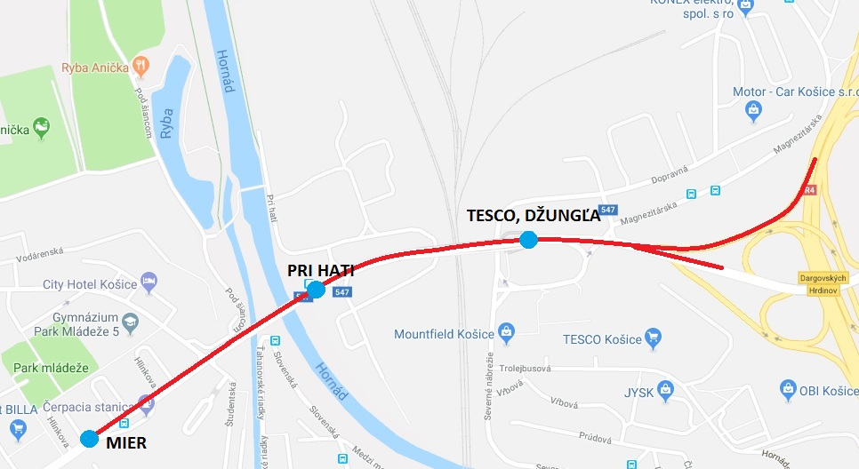 Medvid - Obr. 6. Trasa navrhovaného vyhradeného jazdného pruhu pre autobusy na Hlinkovej ulici