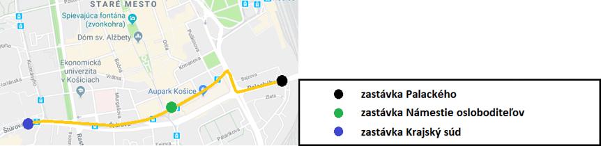 MEDVID SLAVIK Obr.3. Poloha skúmaných zastávok v meste Košice